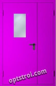 Двустворчатая металлическая дверь с окном. Модель С200-002