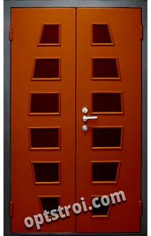 Двустворчатая металлическая дверь с окном. Модель С200-009