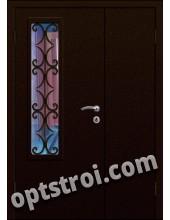 Входная металлическая дверь в тамбур со стеклом и решеткой модель - СТР-006