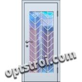 Входная металлическая дверь в тамбур со стеклом и решеткой модель - СТР-002
