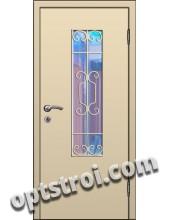 Входная металлическая дверь в тамбур со стеклом и решеткой модель - СТР-004