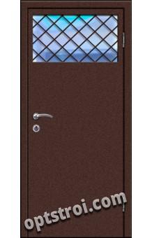 Входная металлическая дверь в тамбур со стеклом и решеткой модель - СТР-005