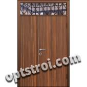Входная металлическая дверь в тамбур со стеклом и решеткой модель - СТР-008