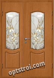 Витражная металлическая дверь в частный дом - ЧД-004