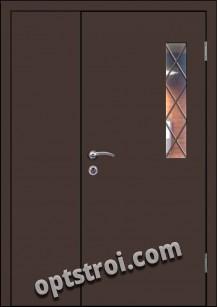 Входная металлическая дверь в тамбур со стеклом и решеткой модель - СТР-001