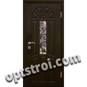 Входная металлическая дверь в тамбур со стеклом и решеткой модель - СТР-010