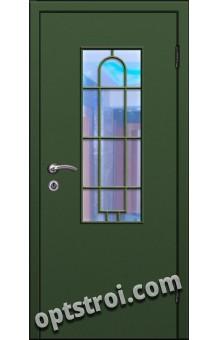 Входная металлическая дверь в тамбур со стеклом и решеткой модель - СТР-003