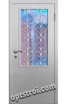 Входная металлическая дверь в тамбур со стеклом и решеткой модель - СТР-007