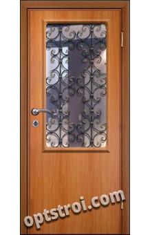 Входная металлическая дверь в тамбур со стеклом и решеткой модель - СТР-009